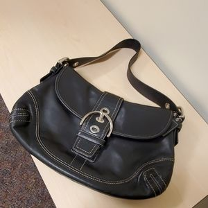Coach Soho flap black leather bag